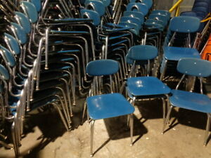 Vintage Lot Of 50 Blue Stacking Gooseneck Chairs 16 High Student School Chairs