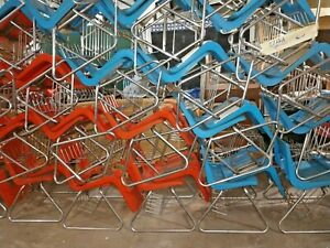 Vintage Lot Of 50 Plastic Stacking Chairs W Baskets Children Kids School Chairs