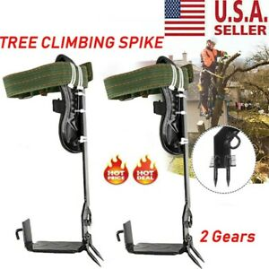 2 Gears Tree Climbing Spike Set Adjustable Safety Belt Lanyard Rope Rescue Belt