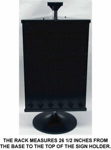 Counter Top Peg Board Spinner Rack Display 3 Sided Black Includes Hooks