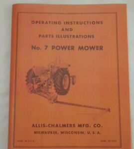Allis Chalmers Ca No 7 Power Snap Coupling Sickle Mower Owner s Parts Manual
