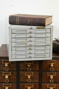 Vintage 7 Drawer Index Card Catalog Filing Cabinet Metal Jewelry Box Tool Box