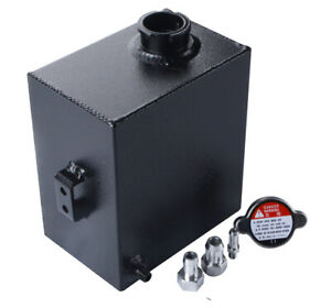 2 5l Universal Aluminum Radiator Coolant Overflow Expansion Tank Bottle Black