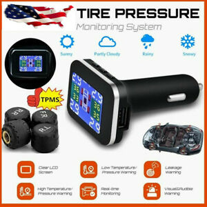 Car Tpms Wireless Tire Pressure Monitoring System Lcd 4 External Sensors 12v C