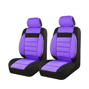 Car Pass Car Seat Covers 100 Polyester Purple Color Washable For Two Front Seat