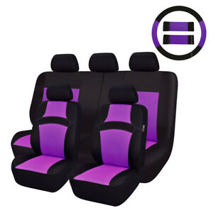 Car Pass 14pcs Rainbow Purple Sandwich Mesh Fabric Car Seat Covers For Car Truck