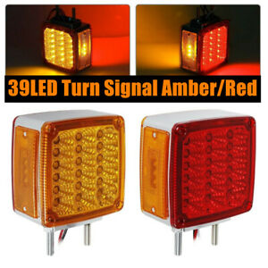 Pair Of 39 Led Double Side Turn Signal Amber Red R H Semi Truck Fender Light