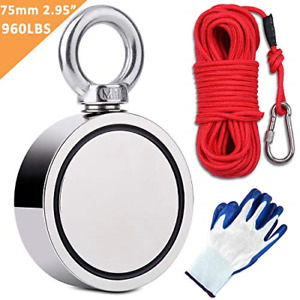 Double sided Fishing Magnets With Rop Carabiner Glove Large Strong Heavy Duty