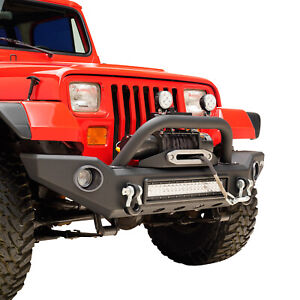 Led Front Bumper With Abs Light Frames Fit For 87 06 Jeep Wrangler Tj Yj