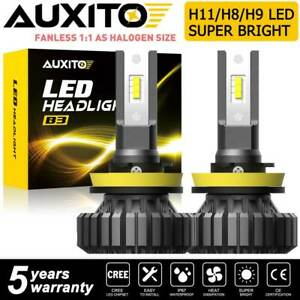 2x Auxito H8 H11 Led Headlight Low Beam Fanless Bulbs 20000lm 100w Bright 6500k
