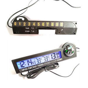 Lcd Digital Display Thermometer 12v Voltage Meter Kits Fit For Car 11 5x3x4cm