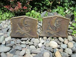 Pair Of Antique Handmade Arts Crafts Sailing Yachts Design Bookend Set