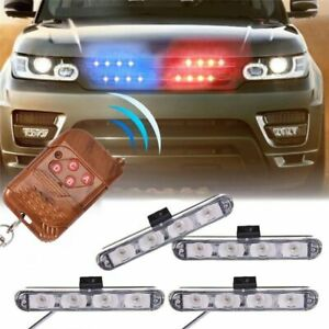 Car 16 Led Red blue Police Strobe Flash Light Dash Warning Emergency Lamp remote