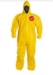 Dupont Tychem Qc127byllg Chemical Hazmat Coverall W hood Case Of 12 Size Large