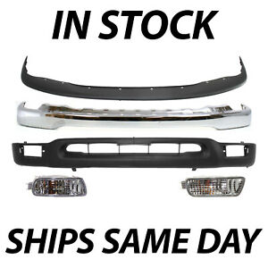 New Chrome Front Bumper Face Bar Valance Filler Kit For 2001 2004 Toyota Tacoma