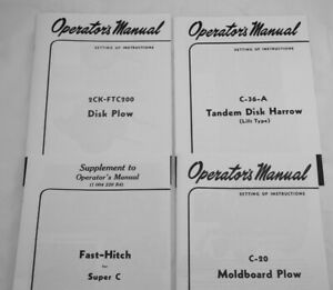 4 Owner s Manuals Farmall Super C Fast Hitch 2 Point Plow Disk 3 Pan Disc Plow