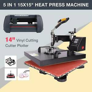 15x15 5 In 1 Heat Press Machine And 14 Vinyl Cutter Plotter Paper Cut Printer