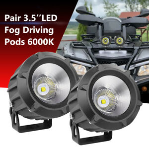 Pair Round Led Spotlights Fog Driving Lamp Spot Flood Car Offroad 4wd Bumper 50w