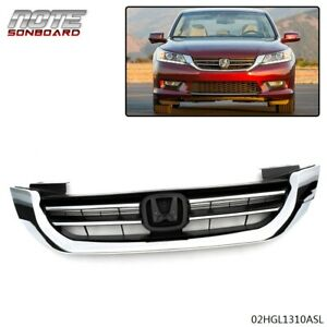 Front Bumper Radiator Upper Chrome Grill Fit For Honda Accord 2013 2014 2015