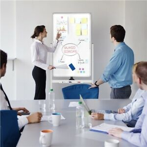 Rolling Reversible Magnetic White Board Double Sided Dry Erase Mobile Whiteboard