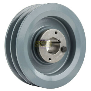Cast Iron 5 75 2 Groove Dual Belt B Section 5l Pulley W 1 1 4 Sheave Bushing