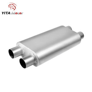 Yitamotor 2 5 Inlet 2 5 Outlet Dual 3 Chamber Race Exhaust Muffler 23 Length