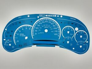 Blue Custom Gauge Face Overlay For 2003 04 05 Gm Gas Instrument Clusters New