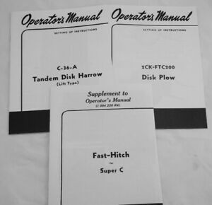 3 Owner s Manuals Farmall Super C Fast Hitch Ih 2 Point Disc Plow Disk Harrow