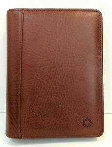 Franklin Covey Planner Organizer Top Grain Cowhide Leather Brown Dividers Nice