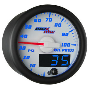 Slightly Used White Blue Maxtow Double Vision 100 Psi Oil Pressure Gauge Kit