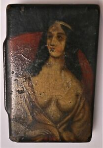 Choice Antique Lacquer Snuff With Picture Of A Beautiful Lady On Top