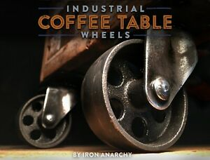 4 Industrial Casters Vtg Coffee Table Furniture Cast Iron Metal Wheel Brake Lock