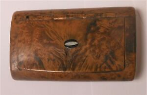 Great Antique Burl Wood Snuff Box With Mop Cartouche And Wooden Hinge