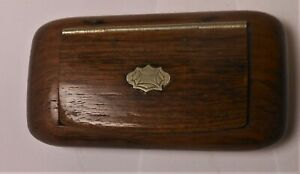Great Antique Carved Wooden Snuff Box With Silver Cartouche