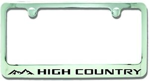 Chevrolet High Country Chrome Plated Brass Metal License Plate Frame Holder