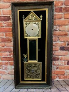Vintage Antique Clock Watch Parts In Wooden Frame Grandfather Clock Spares