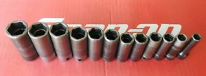 Snap On Tools 3 8 Drive 12 Pc Deep 6 Pt Metric Impact Socket Set 8 To 19mm