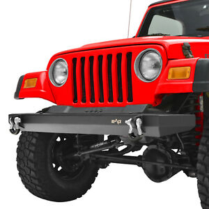 Front Bumper With D ring Black Offroad Fit For 87 06 Jeep Wrangler Tj Yj