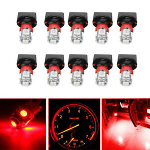 10x Red T10 168 194 Led Bulbs Instrument Gauge Cluster Dash Light W Sockets