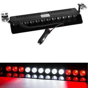 12 Led Emergency Warning Flash Strobe Light Beacon Visor Lamps Red White Red