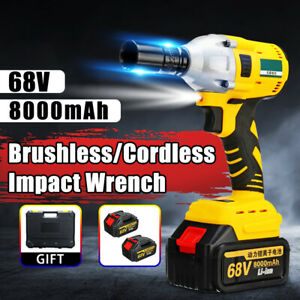68v 460nm Electric Cordless Brushless Impact Wrench 1 2 With Battery 5 Types