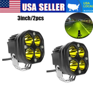 2pcs 3 Cree Led Work Light For 4x4wd Off Road Car Driving Yellow Spotlights Usa