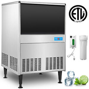150lbs Commercial Ice Maker Undercounter Ice Machine 68kg 24h Stainless Steel