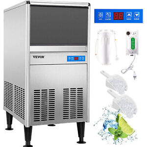 95lbs Commercial Ice Maker 43kg 24h With 50lbs Bin Stainless Steel Construction