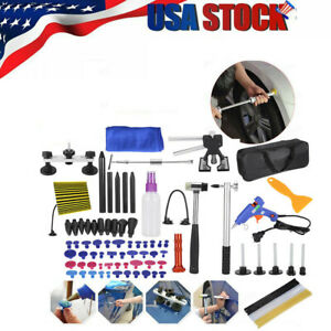 90pc Paintless Dent Repair Puller Lifter Tools T Bar Removal Glue Kit Us