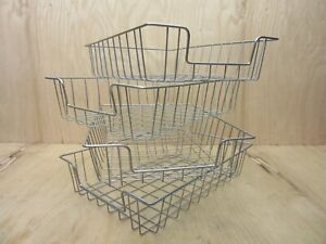 Lot Of 4 Vintage Industrial Metal Wire In out Letter Size Desk Tray Baskets
