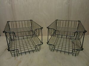 Lot Of 4 Vintage Industrial Metal Wire In out Letter Size Desk Tray Baskets Blk