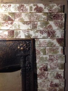 Complete Set Vintage Victorian Antique Fireplace Tile Tiles Mantle Bronze Olive
