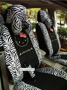 New Cute Hot Hello Kitty Black Car Seat Cover Steering Wheel Cover 18 Pcs