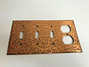 Vintage Triple 3 Toggle Outlet Wall Plate Cover Copper Textured